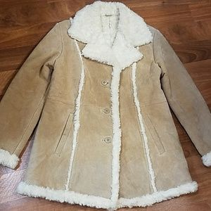 Wilson suede ivory faux fur sherling coat.Large